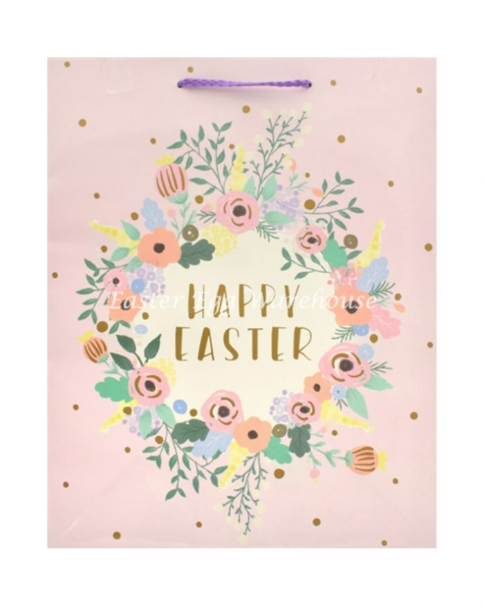 Large Easter Bag - Happy Easter Flowers