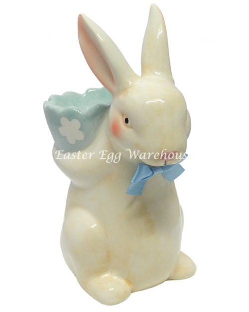 Ceramic Blue Standing Easter Bunny Egg Holder - Large