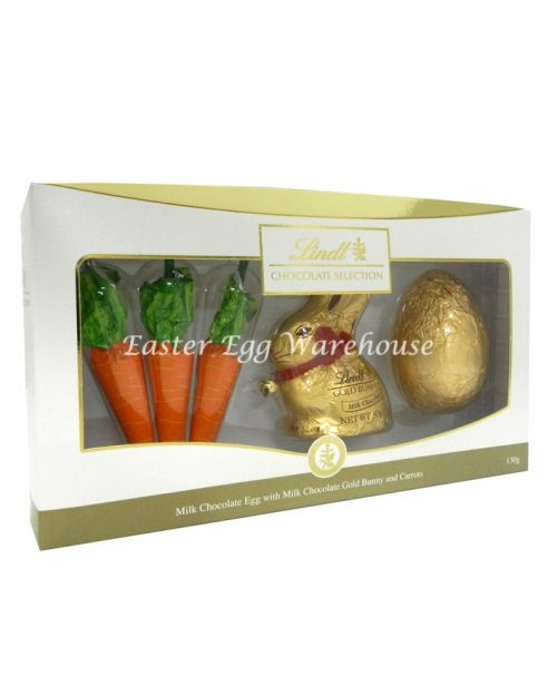 Lindt Milk Gold Bunny, Egg & Carrots Gift Box 130g