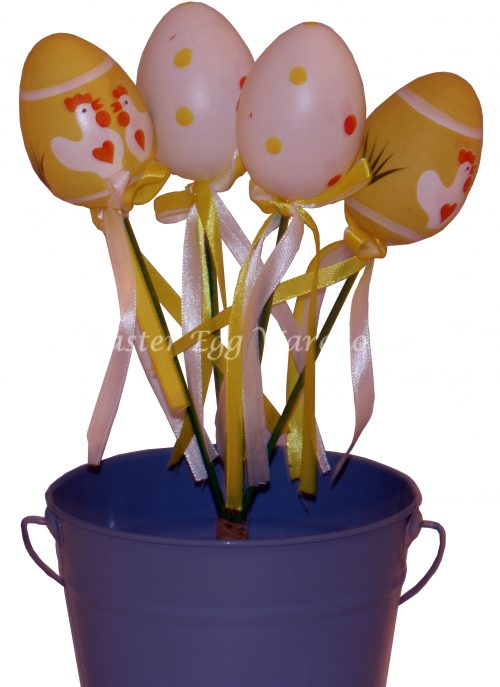 Decorative Paperstring Easter Bunny Pick - Yellow