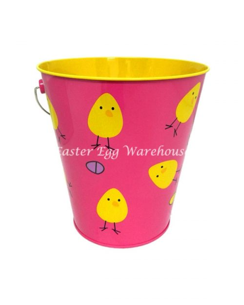 Pink Chicks and Eggs Metal Bucket 17.5cm