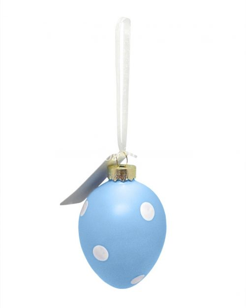 Polka Dot Easter Egg Decorative Ornament - Blue