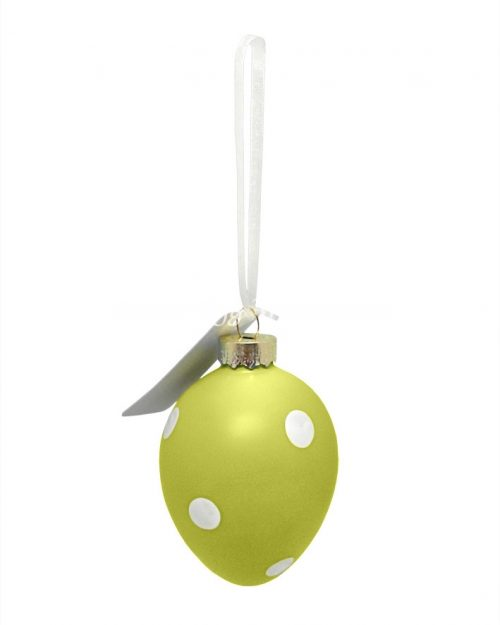 Polka Dot Easter Egg Decorative Ornament - Green