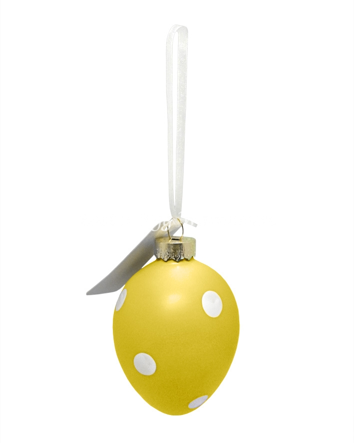 Polka Dot Easter Egg Decorative Ornament - Yellow