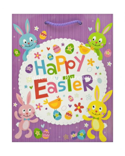 Medium Easter Bag - Happy Easter Purple