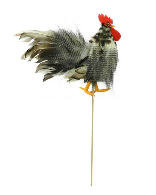 Rooster on Stick - Grey