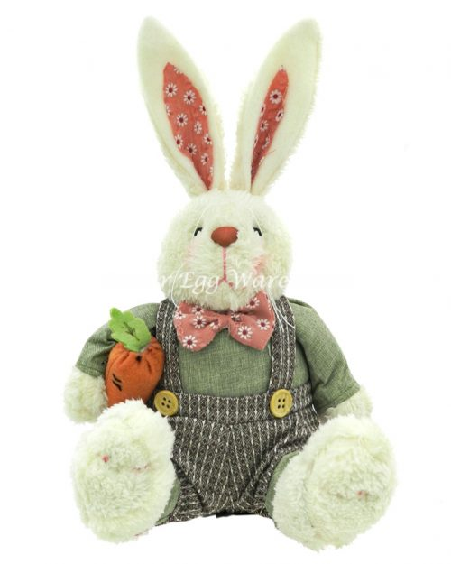 Sitting Bunny with Overalls & Carrot