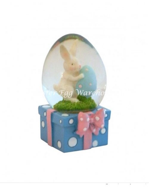 Snowglobe Bunny with Egg - Blue