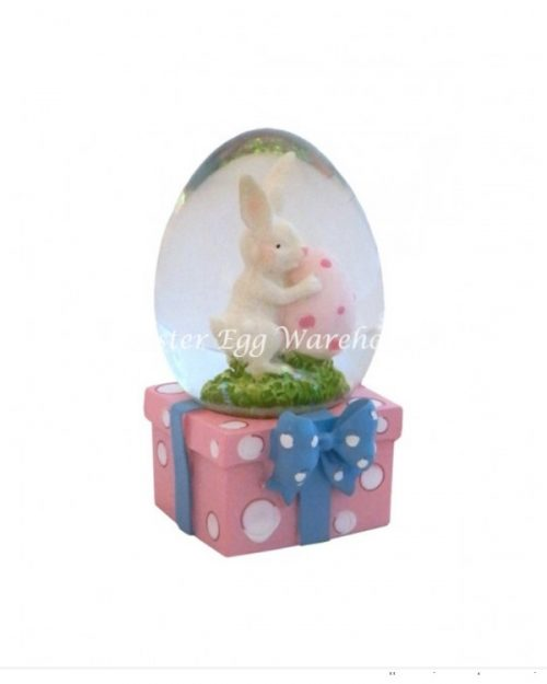 Snowglobe Bunny with Egg - Pink