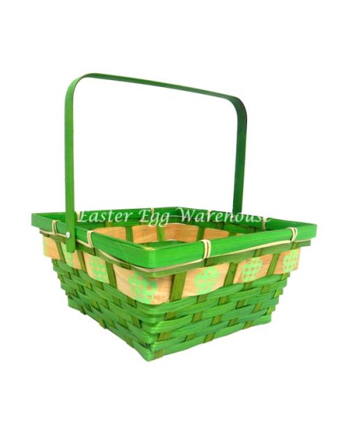 Square Easter Weaved Basket with Easter Print 24cm Assorted Colours