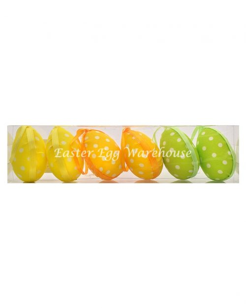 Decorative Spotted Easter Eggs Green/Yellow/Orange 6pk