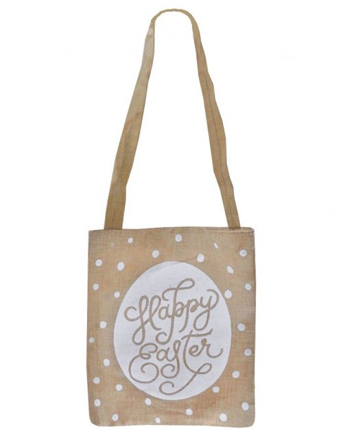 Easter Hessian Tote Bag - Happy Easter 23 x 28 cm
