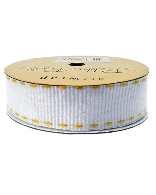 White &Gold Stitch Ribbon 22mm x 3m