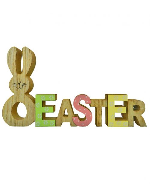 Wooden Easter Sign with Rabbit