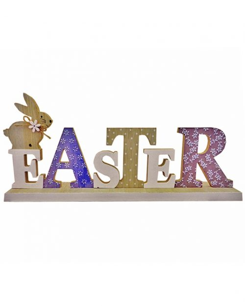 Wooden Easter Sign with Rabbit Blue