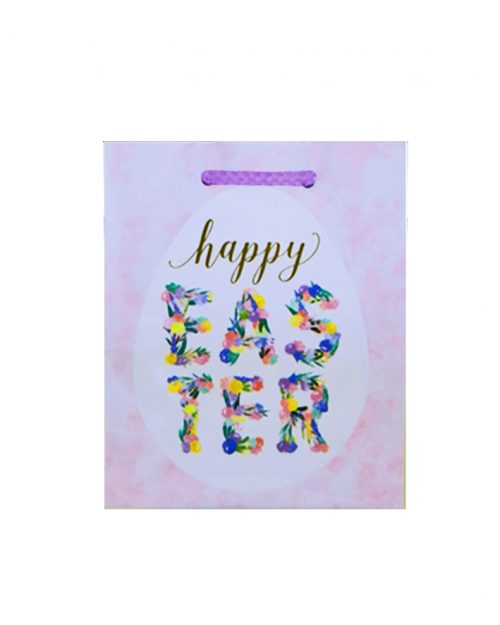 Easter Gift Bag Small - Happy Easter - Pink Flowers