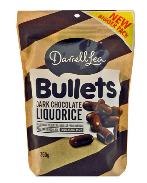 Darrell Lea Dark Chocolate Liquorice Bullets 250g