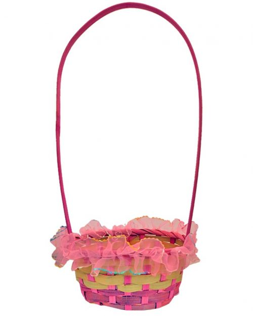 Round Easter Weaved Basket with Organza Trim Pink