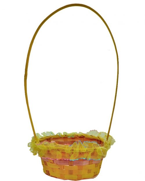 Round Easter Weaved Basket with Organza Trim Yellow