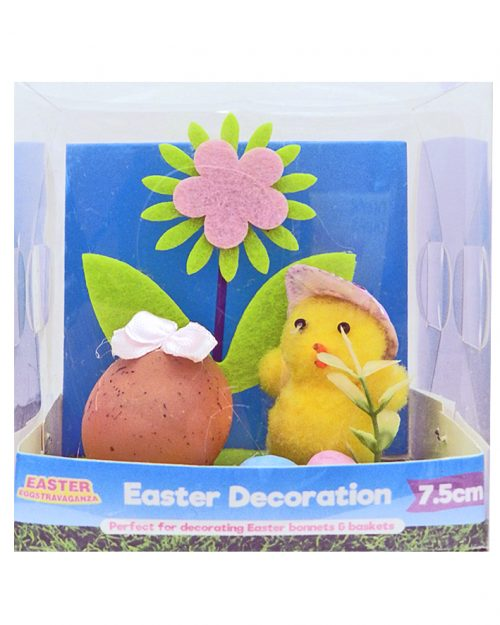 Easter Decoration Chick with Purple Cap 7.5cm