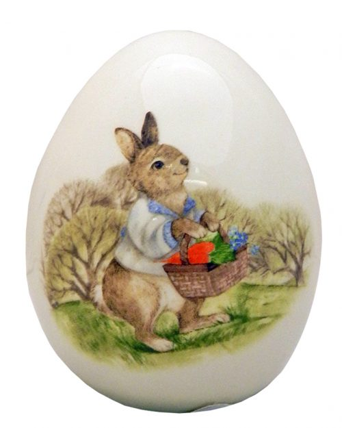 Ceramic Egg Decoration Bunny With Carrots